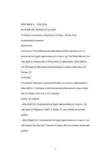 TAR Puglia, Sez. III Bari - Sentenza 9 luglio 2004 n ... - ER Territorio