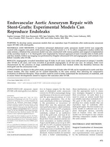 Endovascular Aortic Aneurysm Repair with Stent ... - ResearchGate