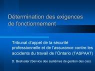 Détermination des exigences de fonctionnement - Ccat-ctac.org