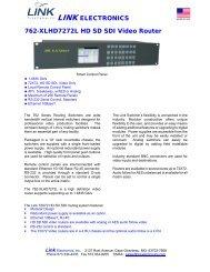 LINK ELECTRONICS 762-XLHD7272L HD SD SDI Video Router