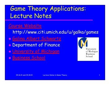 Game Theory Applications: Lecture Notes - Citi - University of ...