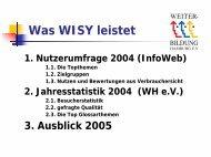 Was WISY leistet - Hamburgs Kursportal WISY