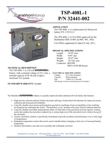 TSP-408L-1 P/N 32441-002 - MarathonNorco Aerospace