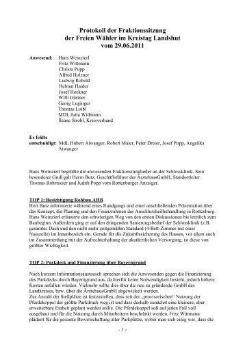 Protokoll der Fraktionssitzung - Freie Wähler Landkreis Landshut