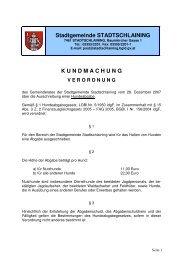 Stadtgemeinde STADTSCHLAINING K U N D M A C H U N G