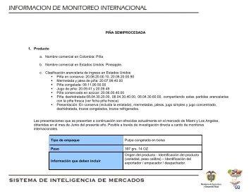 PIÑA SEMIPROCESADA 1. Producto a. Nombre comercial ... - Agronet