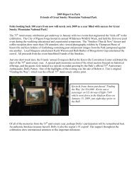2009 Funding Report to Park - Friends of the Smokies