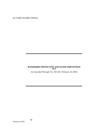 Watershed Protection and Flood Prevention Act - U.S. Senate ...