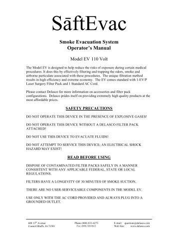 SaftEvac Operator's Manual (110 Volt) - Delasco