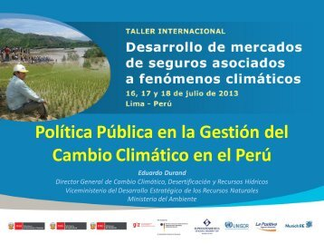 Política Pública en la Gestión del Cambio Climático en el Perú
