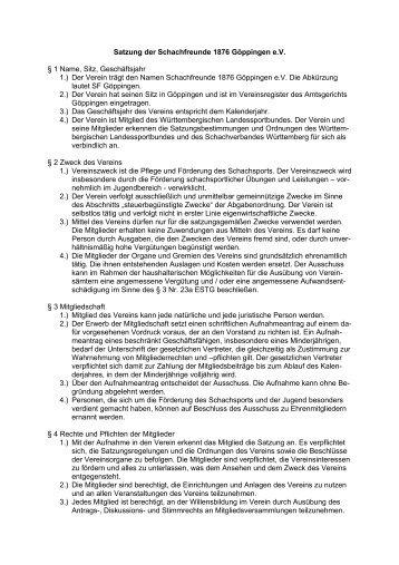 vereinssatzung schachfreunde 1876 gppingen ev - Muster Vereinssatzung