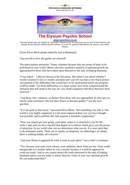 The Elysium Psychic School - The Psychic Directory