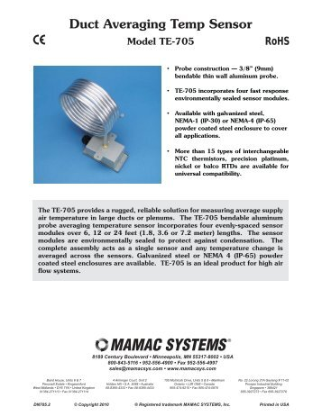 Duct Temperature Sensors Model Te 701 702 Mamac Systems