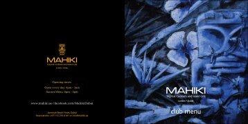 Club Menu - Mahiki Dubai