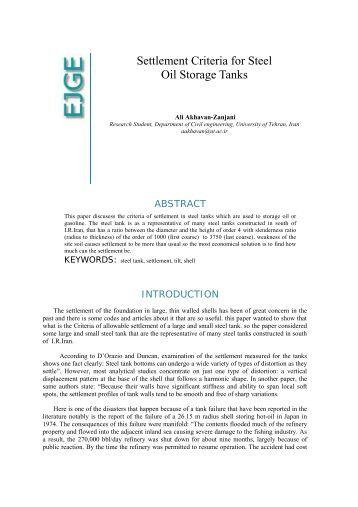 Settlement Criteria for Steel Oil Storage Tanks - Ejge.com