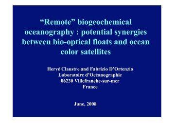 """""""Remote"""" biogeochemical oceanography : potential ... - Euro-Argo"""