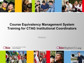 Course Equivalency Management System Training for ... - Ohio ACTE