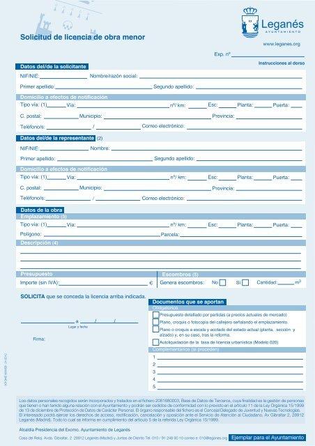 Solicitud Licencia Obra Menor - Ayuntamiento de Leganés