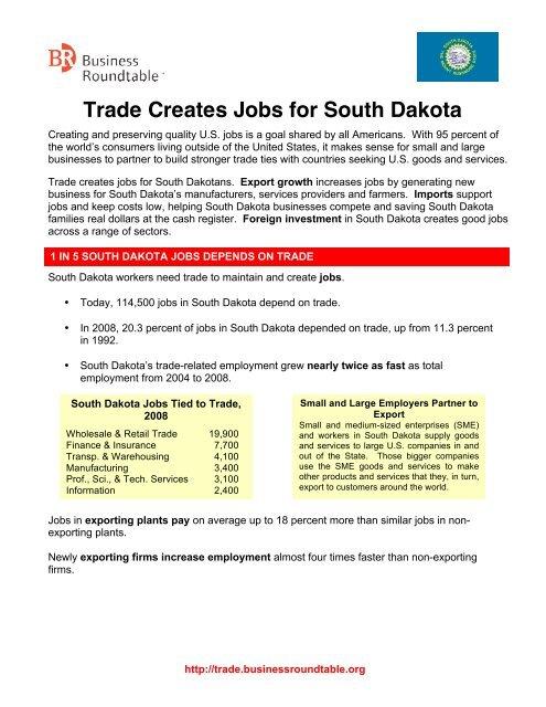 Round Table Jobs.Trade Creates Jobs For South Dakota Business Roundtable