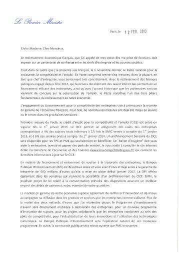 La lettre du Premier Ministre