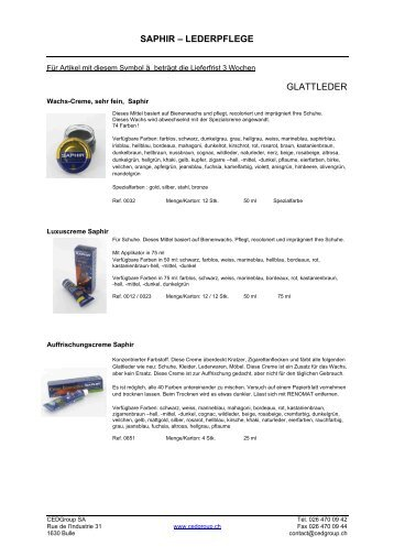 SAPHIR – LEDERPFLEGE GLATTLEDER