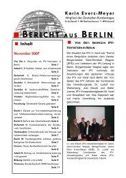 Bericht aus Berlin November 2007 - Karin Evers-Meyer