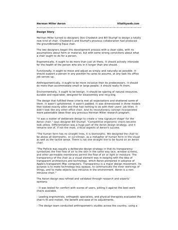 Herman Miller Aeron Vitalityweb.com Design Story Herman Miller ...