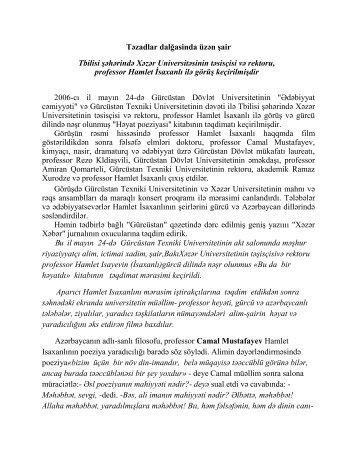 Təzadlar dalğasinda üzən şair Tbilisi şəhərində Xəzər ...