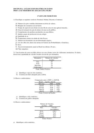 Lista 2 - Departamento de Estatística