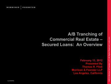 A/B Tranching of Commercial Real Estate – Secured Loans: An ...