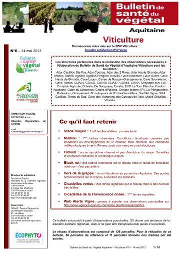 Bsv vigne n 14 du 10 07 2012 les chambres d 39 agriculture - Chambre d agriculture de la gironde ...