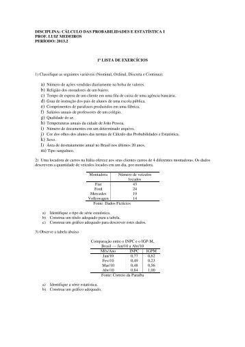 Lista de exercício 1 - Departamento de Estatística