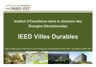 Présentation IEED - Villes Durables - Université Paris-Est