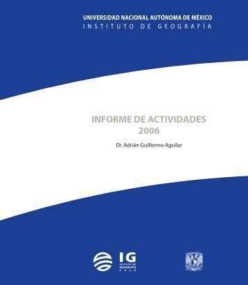 3er. Informe de Actividades - Instituto de Geografía - Universidad ...