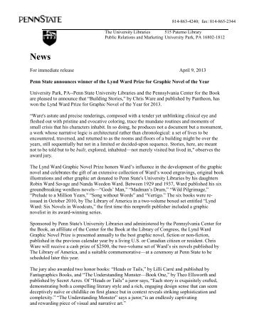 2013 Press Release - The Pennsylvania Center for the Book