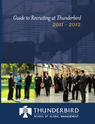 2011 Guide to Recruiting - Thunderbird School of Global Management