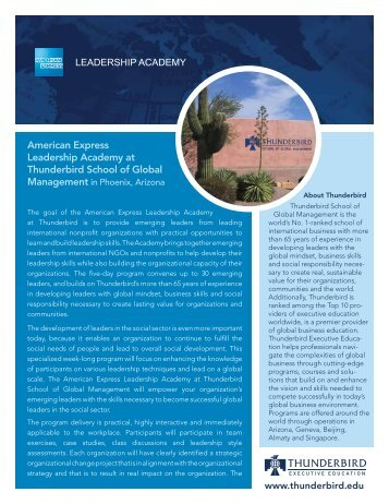 American Express Leadership Academy at Thunderbird School of ...