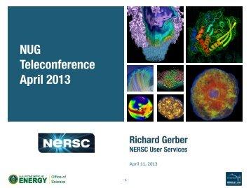 NUG Teleconference April 2013 - NERSC