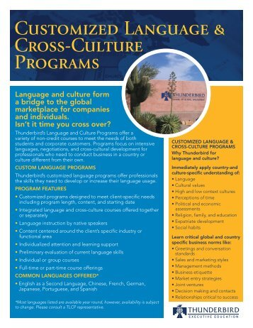 Customized Language & Cross-Culture Programs - Thunderbird ...