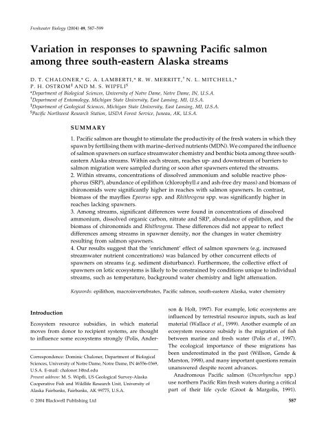 Variation in responses to spawning Pacific salmon among three ...