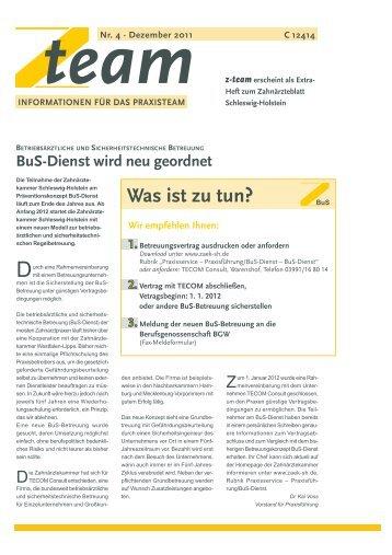 Ausgabe Nr. 4 - Dezember 2011 - Zahnärztekammer Schleswig ...