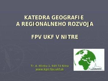 Profil KGRR - Fakulta prírodných vied
