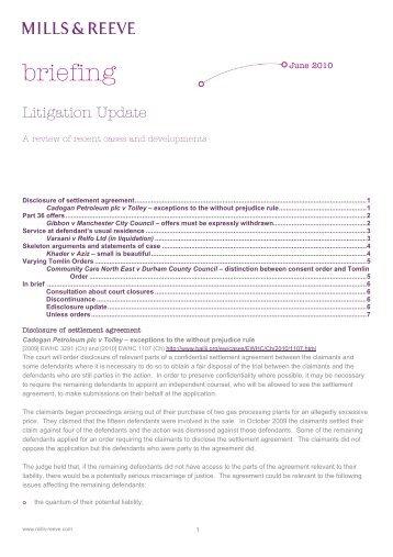 Litigation Update - Mills & Reeve