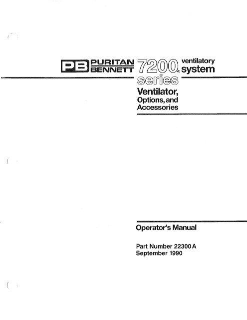 Puritan Bennett 7200 Ventilator Operator S Manual