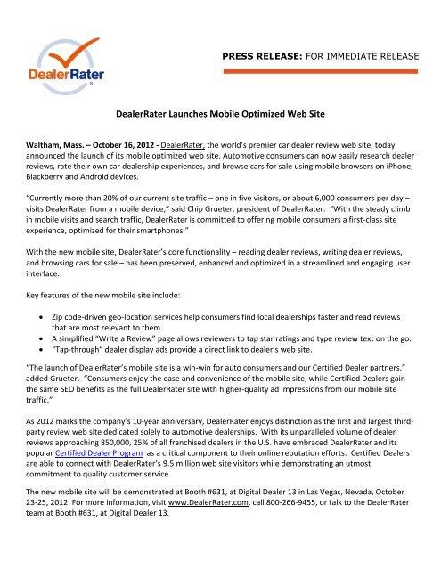 Car Dealer Reviews >> Dealerrater Launches Mobile Optimized Web Site Automotive Digest