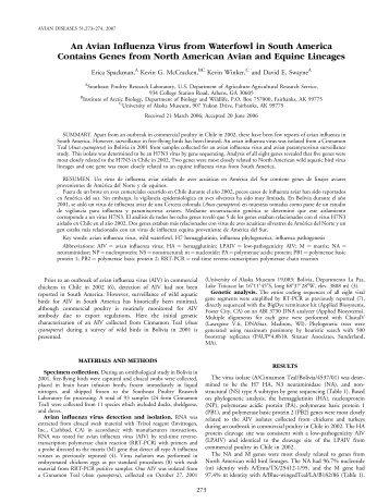 An Avian Influenza Virus from Waterfowl in South America ... - BioOne