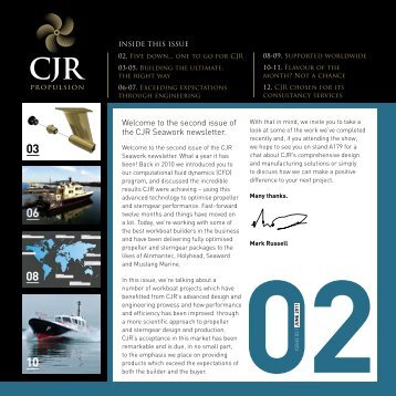 Welcome to the second issue of the CJR Seawork newsletter.