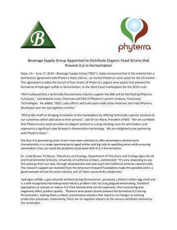 Beverage Supply Group Appointed to Distribute Organic Yeast ...