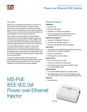 MS-PoE IEEE 802.3af Power over Ethernet Injector - Interlogix