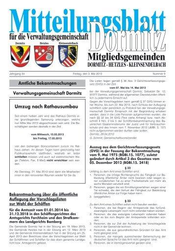 Umzug nach Rathausumbau - der VG Dormitz